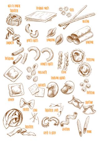 Vector sketch icons set of Italian pasta variety