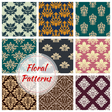 パターンがベクトル花のシームレスな飾りをセットします。  イラスト・ベクター素材