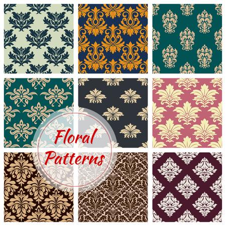 Patterns set of vector floral seamless ornament Illustration