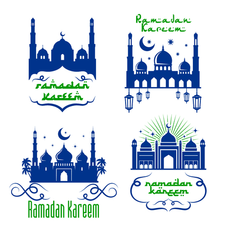 Vector mosque icons for Ramadan Kareem greetings Illustration