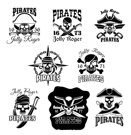 Pirate skull icon and Jolly Roger flag symbol Illustration