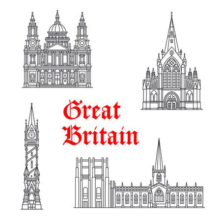 Architecture Great Britain vector landmarks Иллюстрация