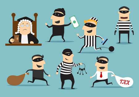 Crime and punishment. Vector thief man characters and judge with gavel for theft or robbery concept. Set of robber burglars with guns in masks stealing money, taxes, credit cards, door keys Illustration