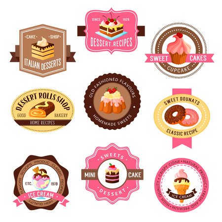 Desserts vector icons for bakery shop and pastry. Chocolate cakes and sweets, donuts and roll pies, tiramisu or brownie tortes and ice cream, wafers, cupcakes and puddings for cafe or cafeteria