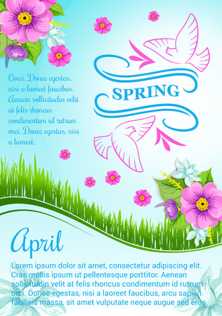 Spring poster design for April holidays. Vector blooming flowers crocuses, narcissus or daffodils and snowdrops on sunny green grass meadow with springtime dove birds for greetings Illustration