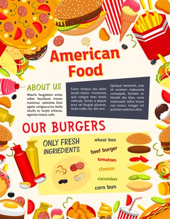 Fast food vector poster of snacks, drinks and meals. Hamburger sandwich and french fries with soda drink, cheeseburger or hot dog and pizza, coffee and ice cream dessert for fastfood restaurant design