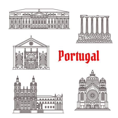 Portugal architecture and famous landmark buildings. Vector icons and facades of Santa Lucia Basilica, Sao Vicente de Fora Church or Monastery, Diana Evora Temple, National Theater of Lisbon
