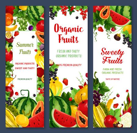 新鮮な果物と果実バナーをベクトルします。ファーム スイカと桃や熱帯パパイヤ、パイナップル、アプリコット、リンゴとザクロ、マンゴー、バナ