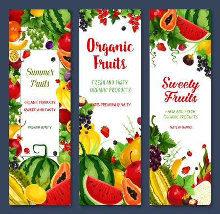 Fresh fruits and berries vector banners. Farm watermelon and peach, tropical papaya and pineapple, apricot, apple and pomegranate, mango, banana, red currant or strawberry and avocado Illustration