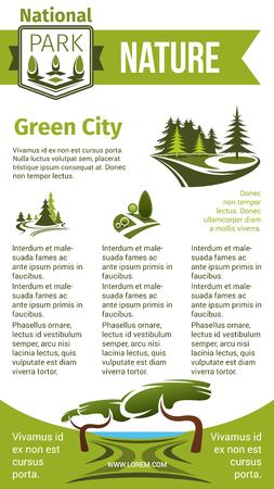 Groene stad en natuur vector poster voor eco tuinieren of stedelijke tuinbouw en planten bedrijf. Ontwerp van groen dorp en park of bosbomen en groen pleinen en parken