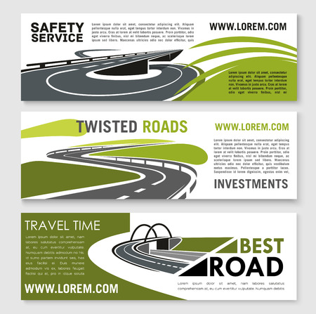 Road safety building or travel time vector banners set for construction or tourist company or investment corporation. Design of highway bridges, tunnels and transport drive lanes Illusztráció