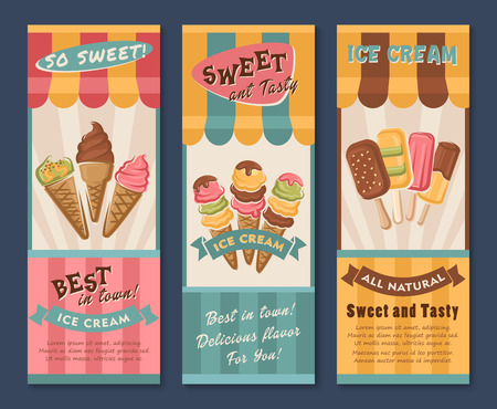 Ice cream vector banners for dessert cafe or gelateria. Design of tasty fruit ice, mint and strawberry soft ice in scoops, frozen juice and sundae in wafer cone or coffee sorbet with chocolate waffle