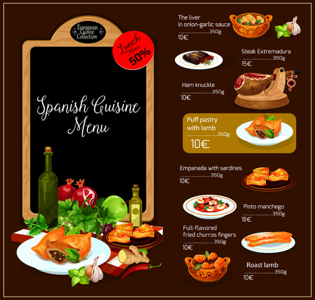 meat food: Spanish restaurant vector menu. Spain traditional cuisine design of soups, meat hot dishes, vegetable salads and appetizer snacks and sweet desserts. Mediterranean food meal lunch