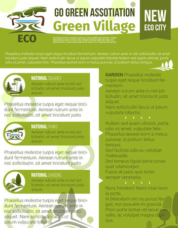 緑の村とエコ都市園芸用ベクトル ポスターを庭いじりをし、企業や団体を植栽します。木と緑のシンボルを造園公園または森林の自然のデザイン  イラスト・ベクター素材