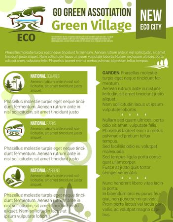 Groen dorp en eco tuinieren vector poster voor stedelijke tuinbouw en aanplant bedrijf of vereniging. Ontwerp van parklands of bossen aard landscaping symbolen van bomen en groen Stock Illustratie