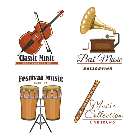 simbolos musicales: Live music festival vector icons set for musical sound fest or concert labels. Isolated symbols of classic musical instruments fiddle violin or contrabass, flute or pipe, drums and gramophone Vectores