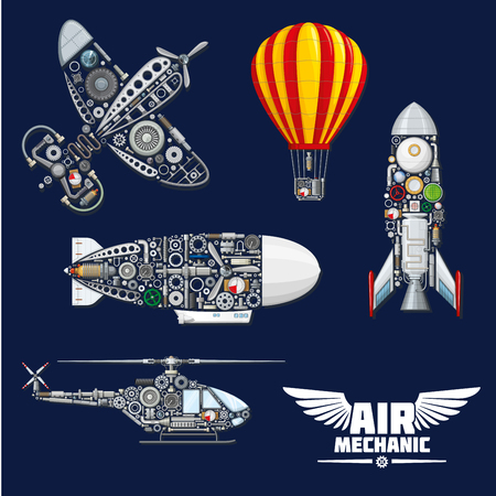 Air mechanics vector aircrafts and mechanisms. Construction parts, engines or gears, gauges, and screw nuts elements of airplane, hot air balloon, helicopter, spaceship rocket or airship zeppelin