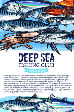 Fishing club vector poster. Seafood and fisherman big fish catch, Fisher trip tackles and salmon, herring or trout and squid, octopus, bream, tuna, pike and sheatfish, flounder, marlin and lobster