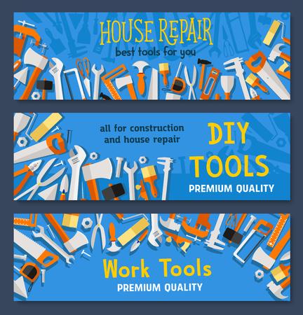Werktools vectorbanners van timmerwerkinstrumenten boor of hamer en meetlint liniaal, moersleutel en zaag, pleister troffel en kwast of schroevendraaier voor doe-het-zelf toolbox
