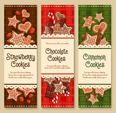 gingerbread man: Cookies banners for bakery shop or patisserie cafe. Vector gingerbread biscuit stars and candy canes with bitter and milk chocolates. Design for pastry desserts and homemade ginger bread cakes Illustration