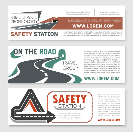 Vector road safery or highway construction banners