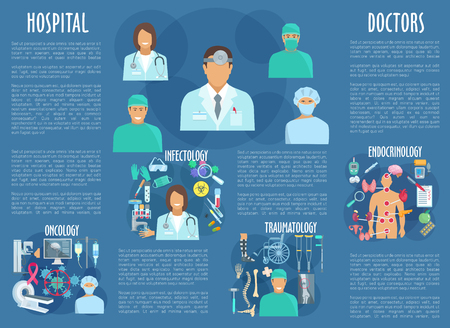 Vector medical poster with hospital doctors