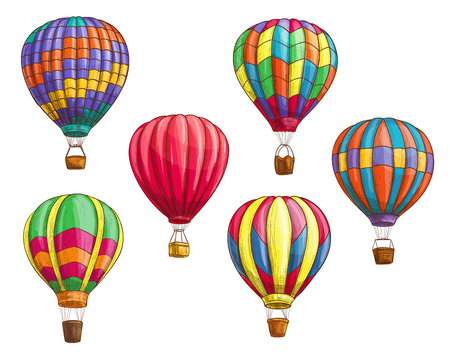 Hot air balloon with pattern ornament design. Vector sketch icons of isolated inflated hopper baloons or cloudhopper aircrafts with zig zag, stripes or square patch decor and air trip gondola