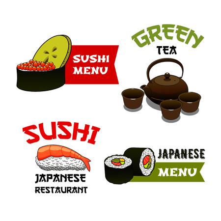 Sushi and rolls vector icons for Japanese seafood cuisine restaurant menu. Isolated symbols sushi and fish rolls with salmon, tempura prawn on steamed rice and green tea with cups and teapot