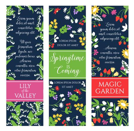 Springtime garden flowers vector banners set Illustration
