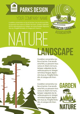 Groene parken en natuur landschap ontwerp bedrijf vector poster met ontwerp van eco dorp of bos en parkland bomen in bos. Sjabloon voor stedelijke tuinbouw en plantassociaties Stock Illustratie