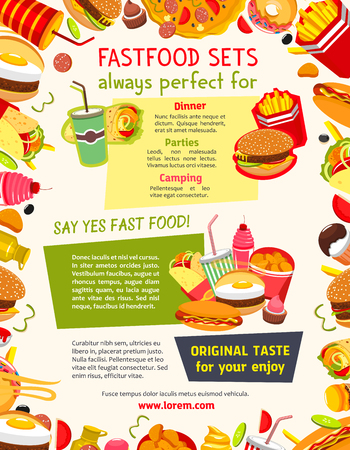 Fast food vector poster with meals and snacks. Hamburgers and cheeseburgers with french fries, ice cream and cupcakes desserts, hot dog and chicken nuggets basket. Lunch menu of fastfood restaurant