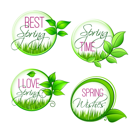 Isolated vector leaf grass of spring time quotes