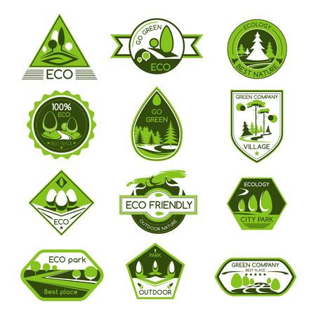 Vector pictogrammen instellen eco natuur ecologie bedrijf