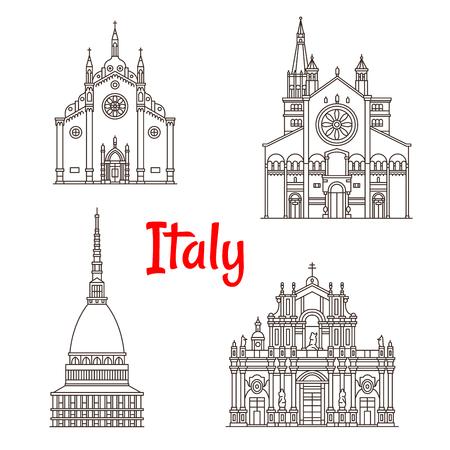 Italiaanse architectuur Italië bezienswaardigheden vector iconen