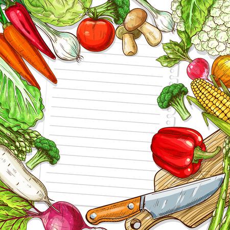 Vector vegetables design for recipe blank note Illustration