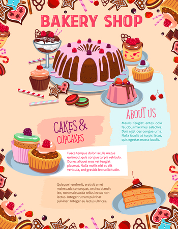 Vector poster for bakery shop cakes and desserts