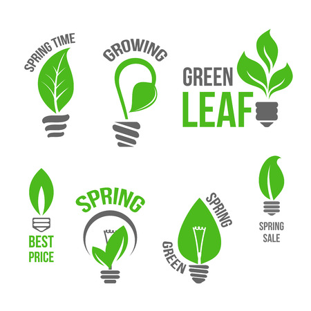 Isolated vector green light bulb spring leaf icion