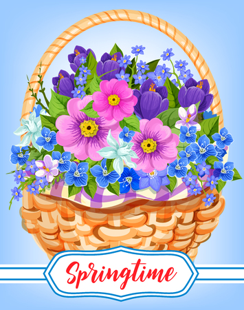 Springtime garden flowers in basket