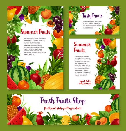 新鮮な果物のカードやポスター