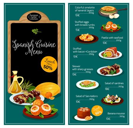 Vector menu voor Spaanse keuken restaurant Stock Illustratie