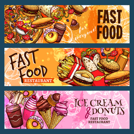 Vector banners set for fast food restaurant Çizim
