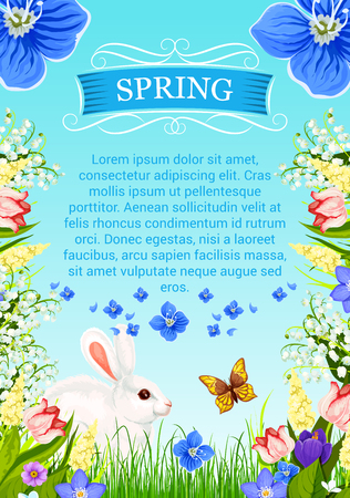 Vector spring time poster with flowers bunch