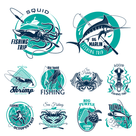 Fishing trip vector icons for fisherman adventure club. Isolated symbols of big fish catch, fisher tackles and seafood crab lobster or squid, tuna or turtle in scoop net, fishing rod and marlin