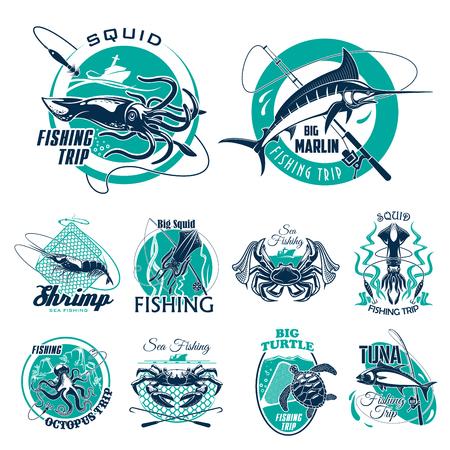 Iconos de vector de viajes de pesca para el club de aventura de pescadores. Símbolos aislados de pescado grande captura, pescador aborda y mariscos cangrejo langosta o calamar, atún o tortuga en cuchara red, caña de pescar y marlin Foto de archivo - 77784553