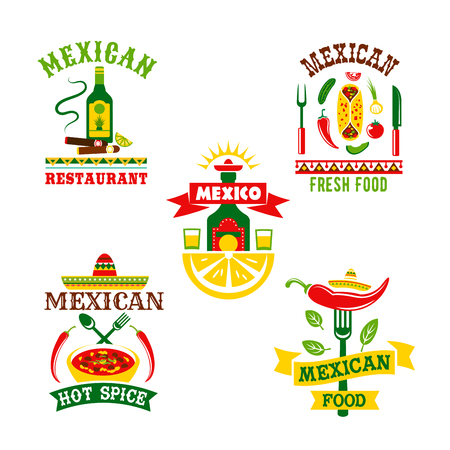 Mexican restaurant or food cafe vector icons. Symbols of spicy chili pepper jalapeno, tequila drink and lime, nachos chips with salsa sauce or soup and traditional sombrero hat for Mexico cuisine Illustration
