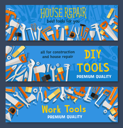 Work tools vector banners of carpentry instruments drill or hammer and tape measure ruler, spanner and saw, plaster trowel and paint brush or screwdriver for do-it-yourself toolbox Illustration