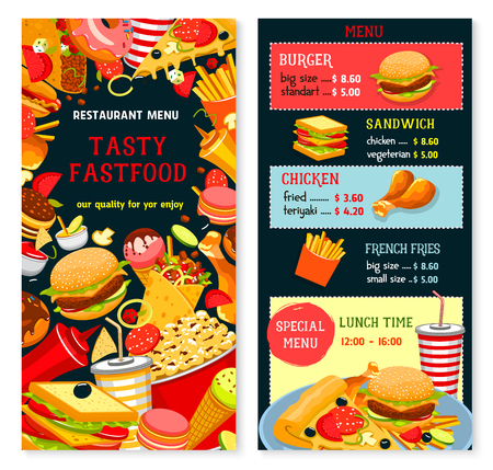 Fast food vector menu with lunch time combo offer. Fastfood snacks, drinks and meals of hamburgers french fries with cheeseburger or hot dog and pizza, soda drink and coffee or ice cream dessert Illustration