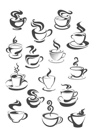 chocolate swirl: Coffee cup and mug isolated icon set Illustration