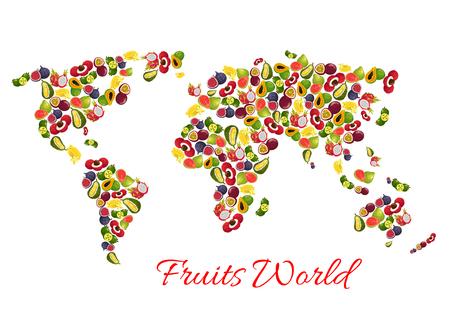 이국적인 열대 과일 벡터 세계지도