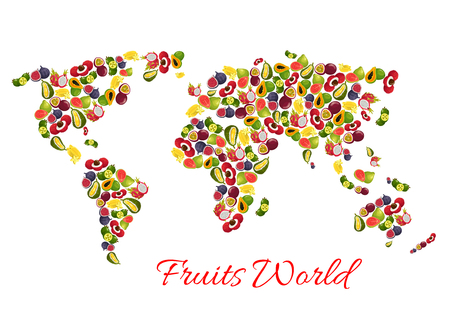 Exotic tropical fruits vector world map